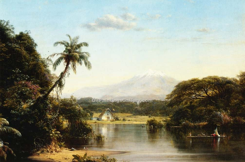 Scene on the Magdalena by Frederic Edwin Church | Paintings On Canvas - Oil Paintings Gallery