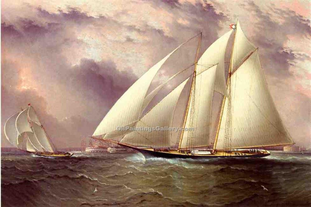 """Schooner Racing off New York Harbor"" by  James E Buttersworth"