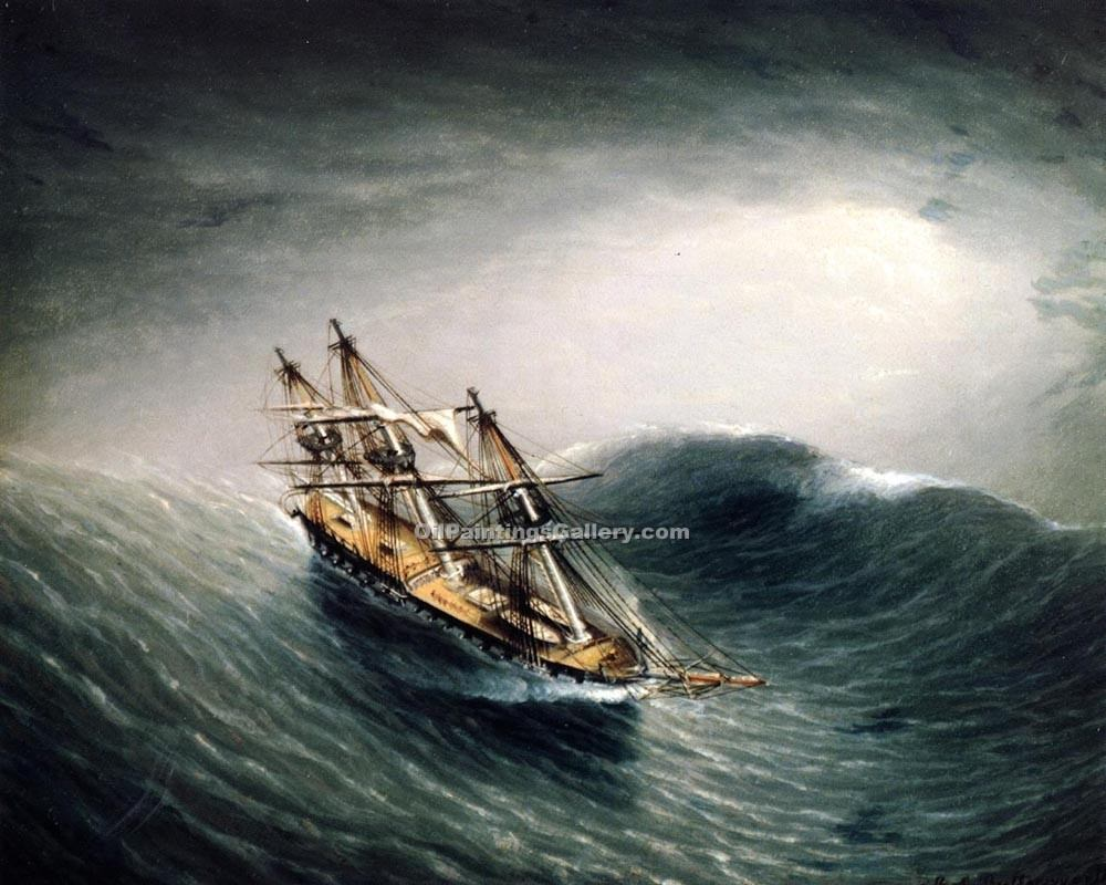 Schooner in a Stormy Sea by James E Buttersworth | Where To Buy Art - Oil Paintings Gallery