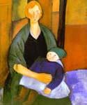 Seated Woman with a Child by  Amedeo Modigliani (Painting ID: EI-2021-KA)
