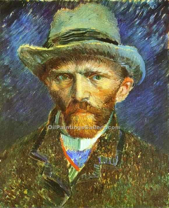 """Self Portrait in a Grey Felt Hat"" by  Vincent Van Gogh"