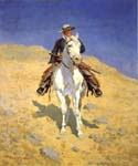 Self Portrait on a Horse by  Frederic Remington (Painting ID: AN-2166-KA)