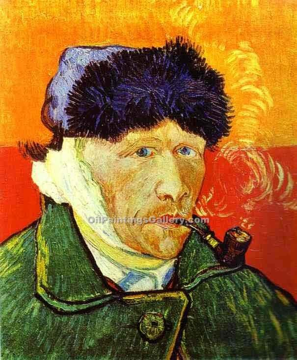 """Self Portrait with a Pipe"" by  Vincent Van Gogh"