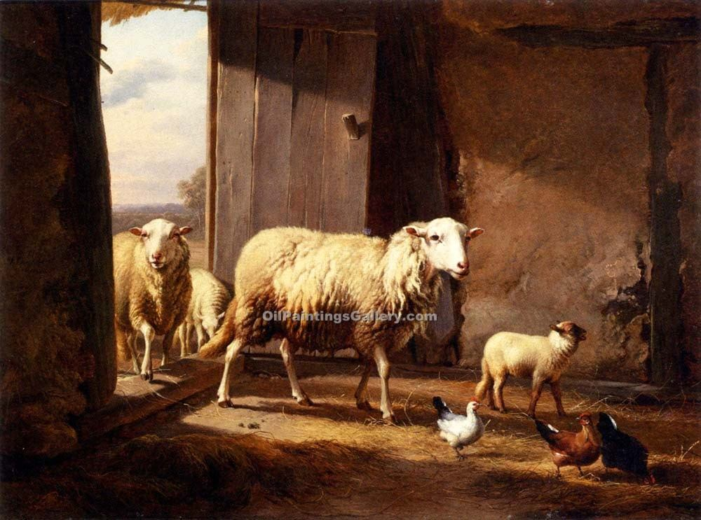 """Sheep Returning from Pasture"" by  Eugene Joseph Verboeckhoven"