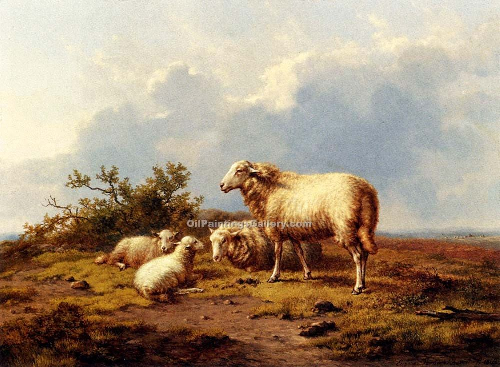 """Sheep in a Meadow 30"" by  Eugene Joseph Verboeckhoven"