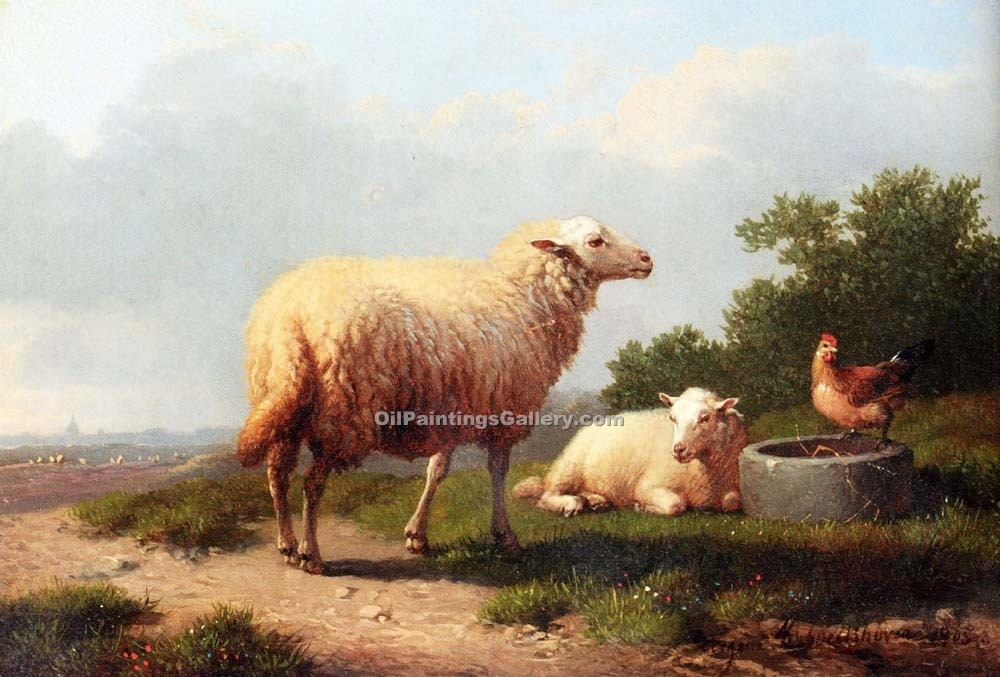 """Sheep in a Meadow 31"" by  Eugene Joseph Verboeckhoven"