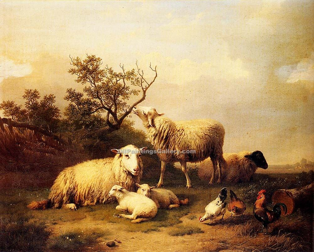 """Sheep with Resting Lambs and Poultry in a Landscape"" by  Eugene Joseph Verboeckhoven"