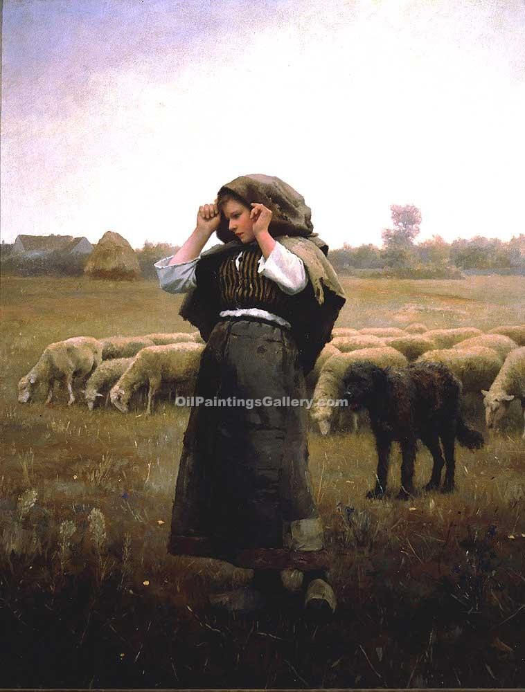 """Shepardess and her Flock"" by  Daniel Ridgway Knight"