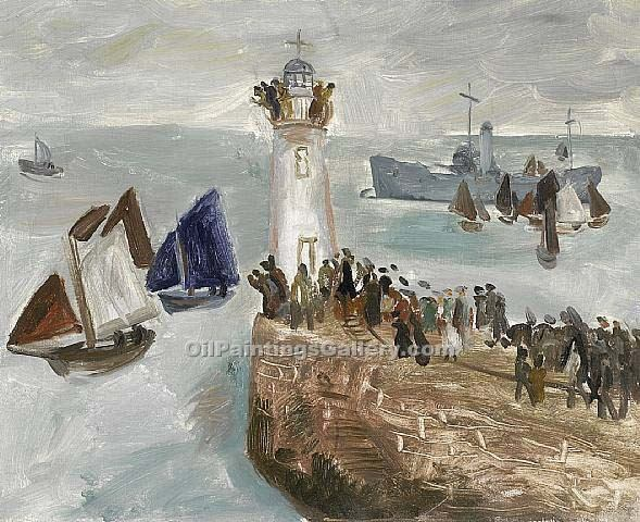 """Shipping off Newlyn Harbour"" by  Christopher Wood"