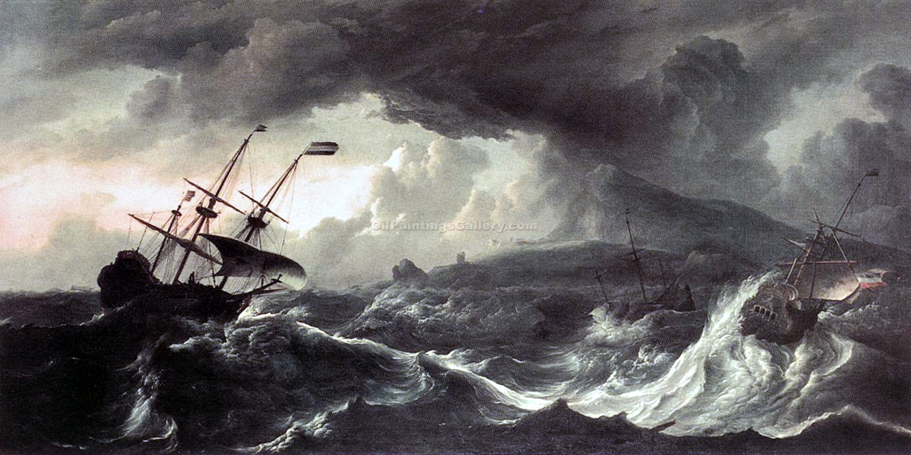"""Ships Running Aground in a Storm"" by  Ludolf Backhuysen"