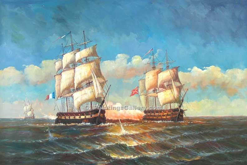 Buy Seascape Oil Painting Online - Art Reproductions | Realism & Naturalism styles - Ships at Battle 52