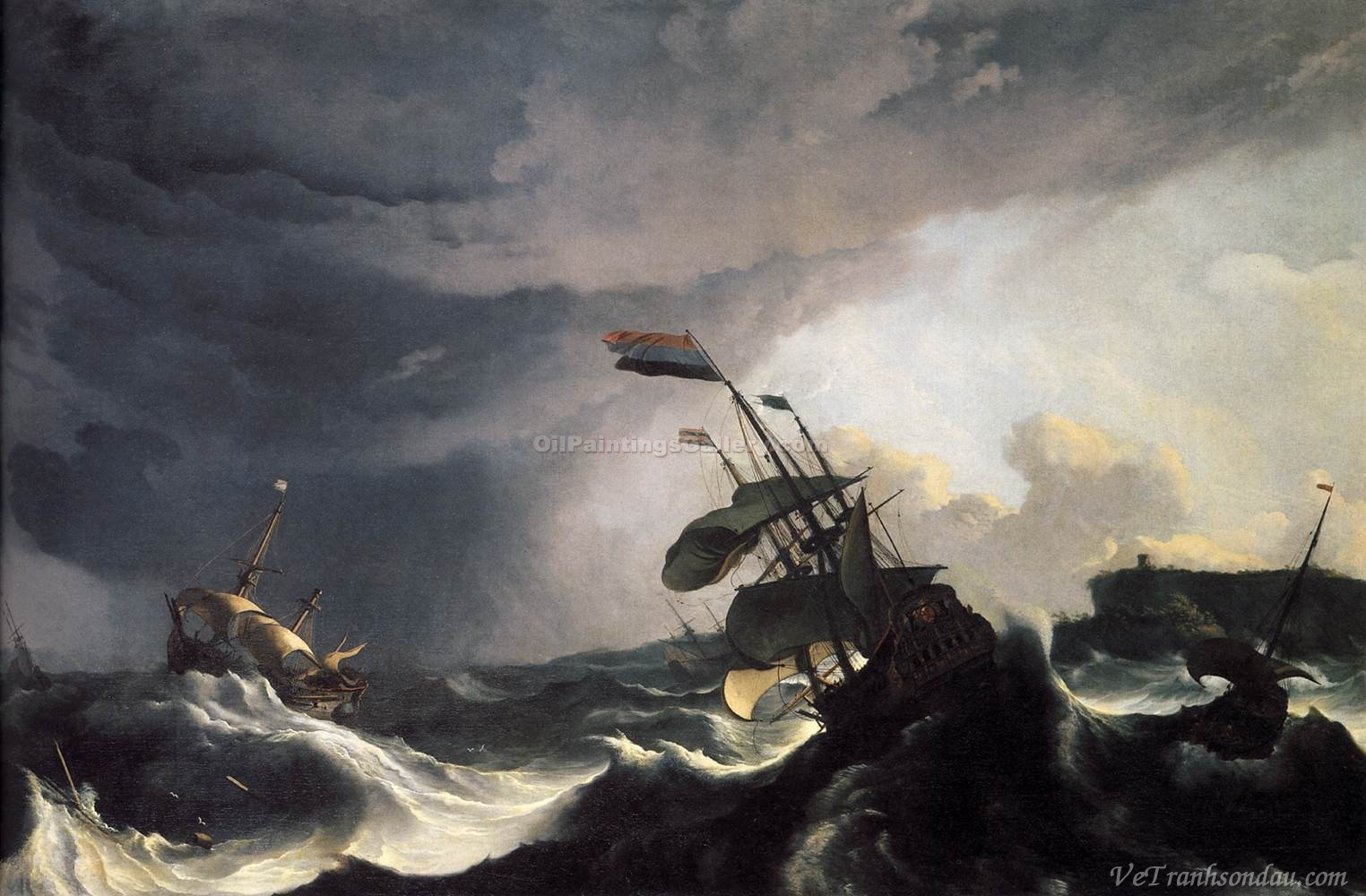 """Ships in Distress in a Raging Storm"" by  Ludolf Backhuysen"
