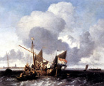 Ships on the Zuiderzee Before the Fort of Naarden by  Ludolf Backhuysen (Painting ID: LA-0493-KA)