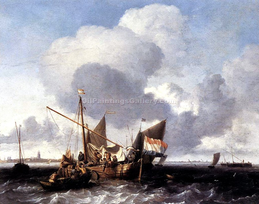 """Ships on the Zuiderzee Before the Fort of Naarden"" by  Ludolf Backhuysen"