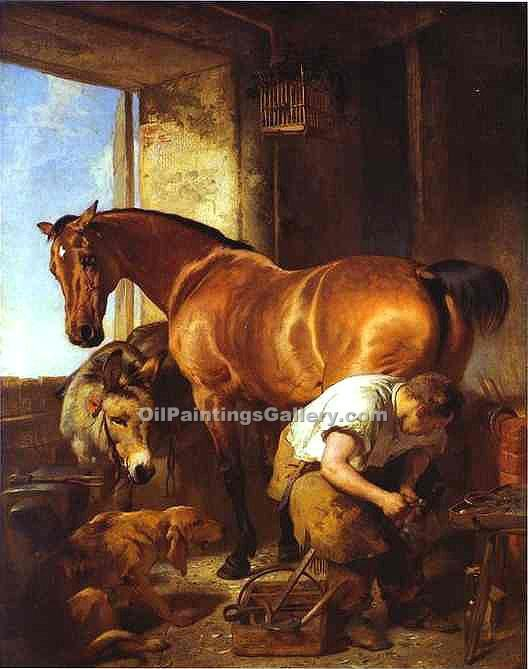 """Shoeing"" by  Sir Edwin Henry Landseer"