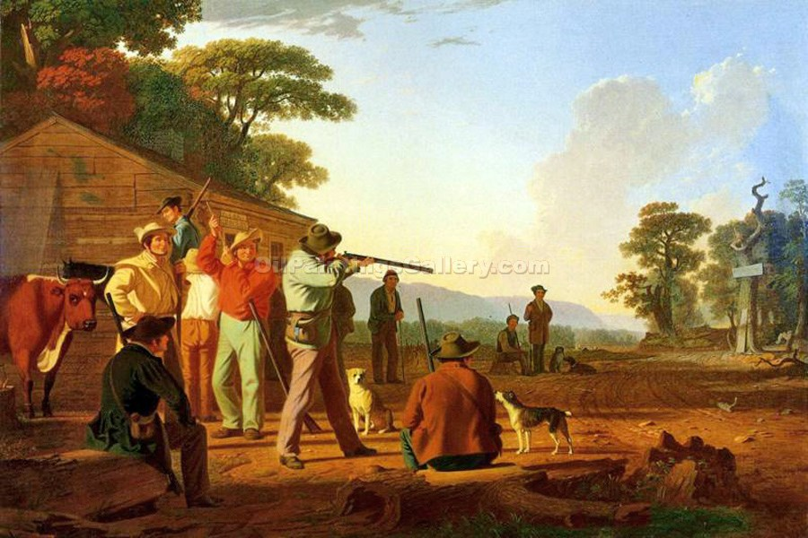 """Shooting for the Beef"" by  George Caleb Bingham"