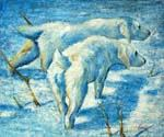 Siberian Dogs in the Snow Oil Painting (ID: AN-0303-A)
