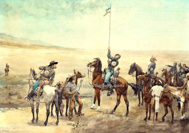 """Signaling the Main Command"" by  Frederic Remington"
