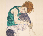 Sitting Woman with Legs Drawn Up by  Egon Schiele (Painting ID: AF-0121-KA)