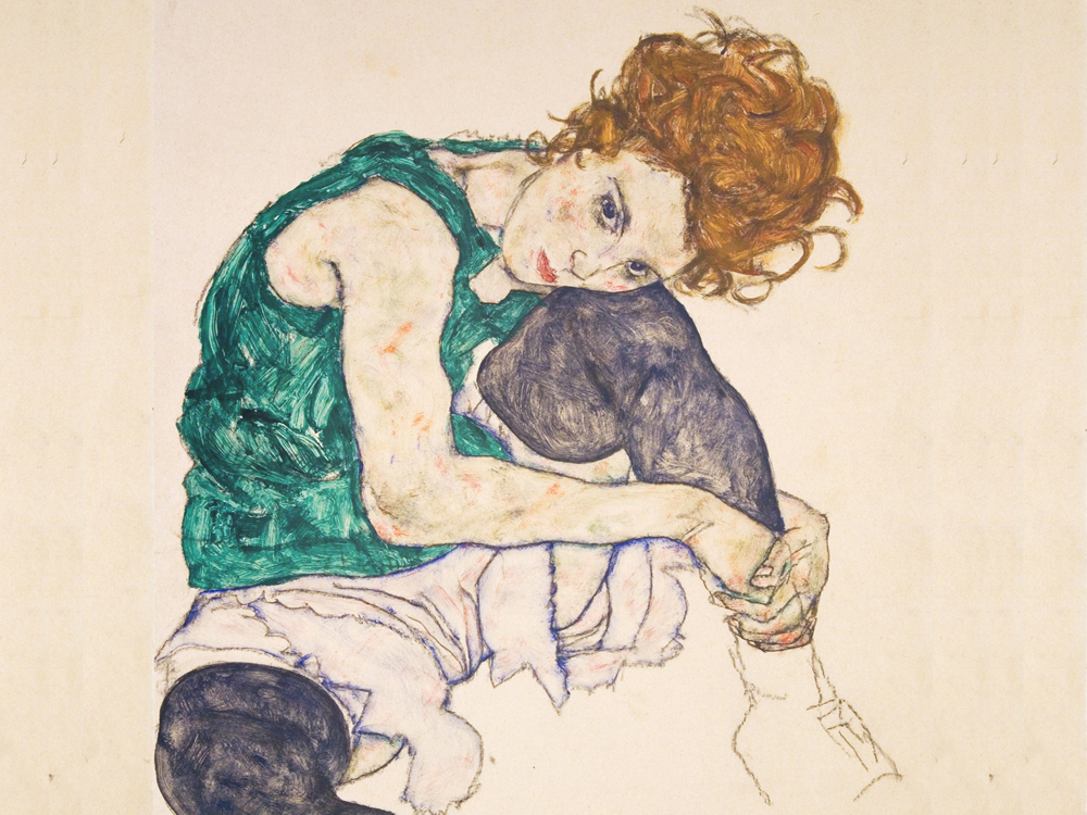 """Sitting Woman with Legs Drawn Up"" by  Egon Schiele"
