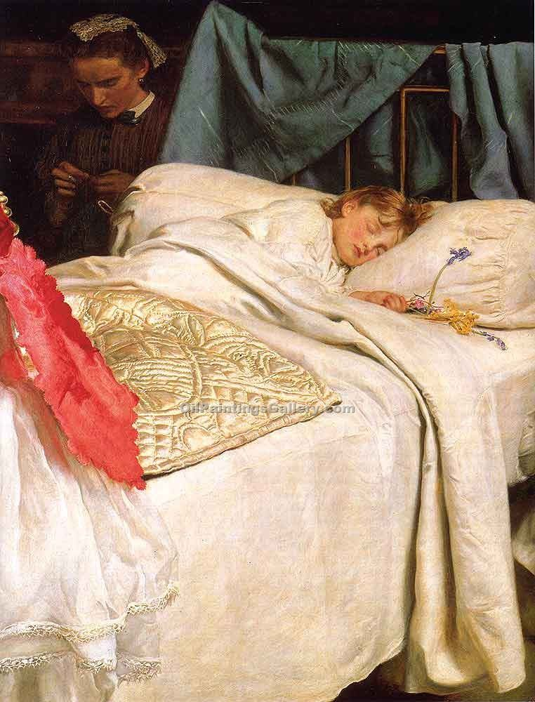 Sleeping by Millais John Everett | Paintings Reproductions - Oil Paintings Gallery