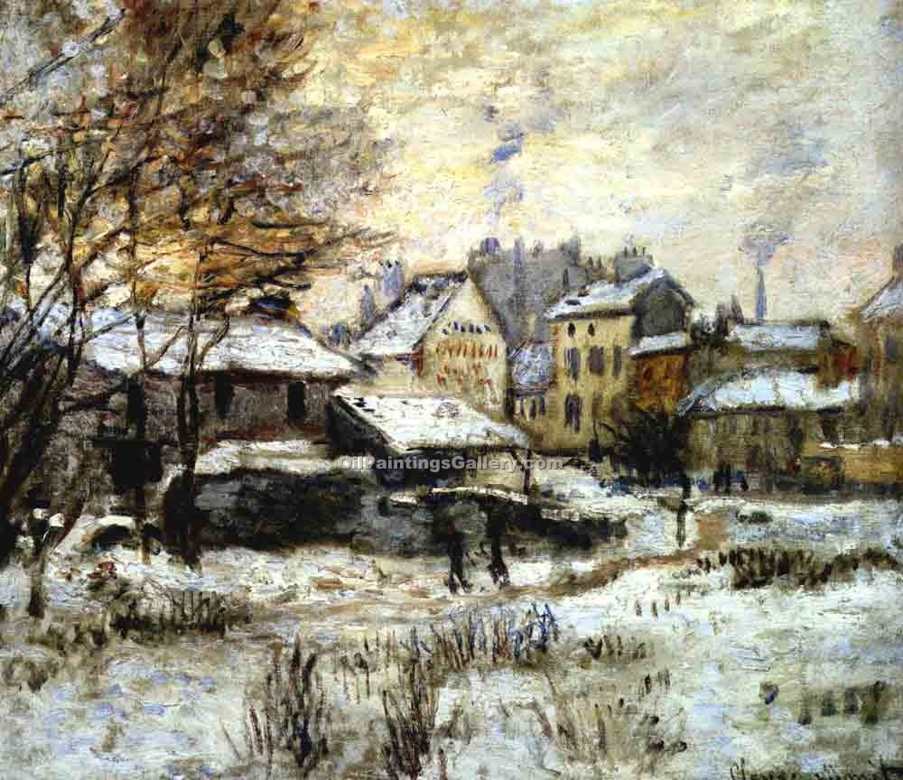 """Snow Effect with Setting Sun"" by  Claude Monet"