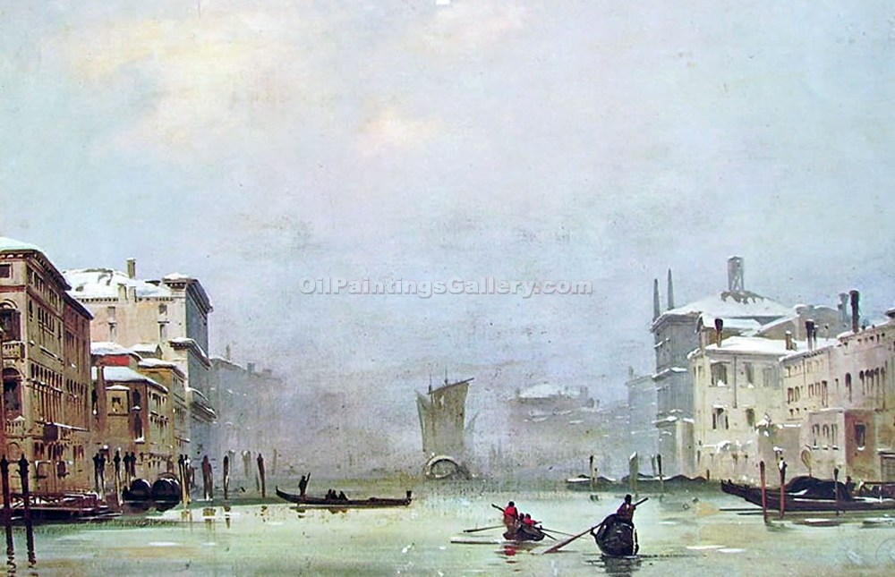 """Snow and Fog in Venice"" by  Ippolito Caffi"