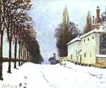 Snow on the Road, Louveciennes by  Alfred Sisley (Painting ID: LA-0335-KA)