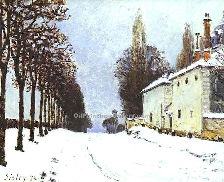 """Snow on the Road, Louveciennes"" by  Alfred Sisley"