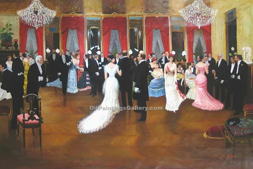 """Society Evening"" by  Jean Beraud"