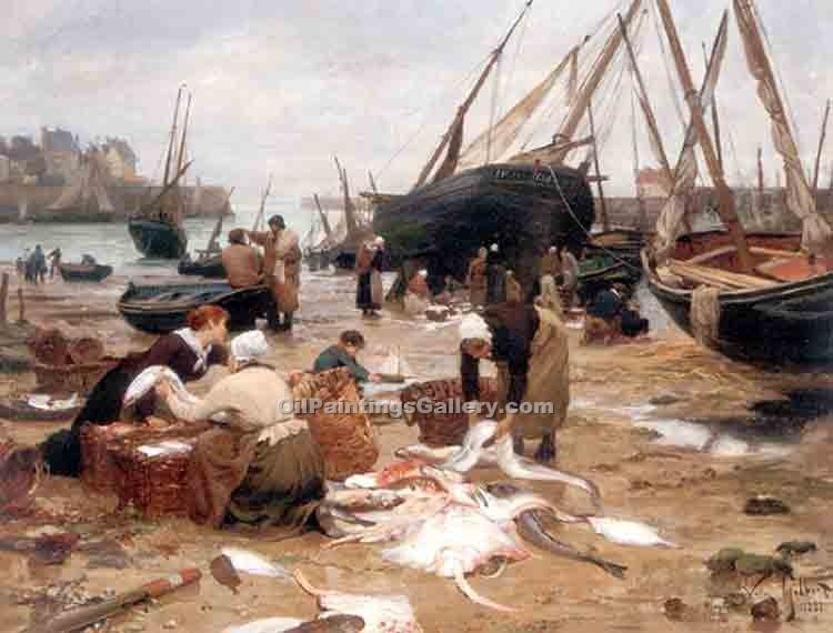 """Sorting the Fish"" by  Victor Gabriel Gilbert"