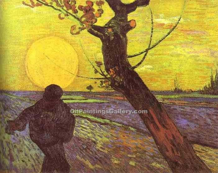"""Sower with Setting Sun (After Millet)"" by  Vincent Van Gogh"