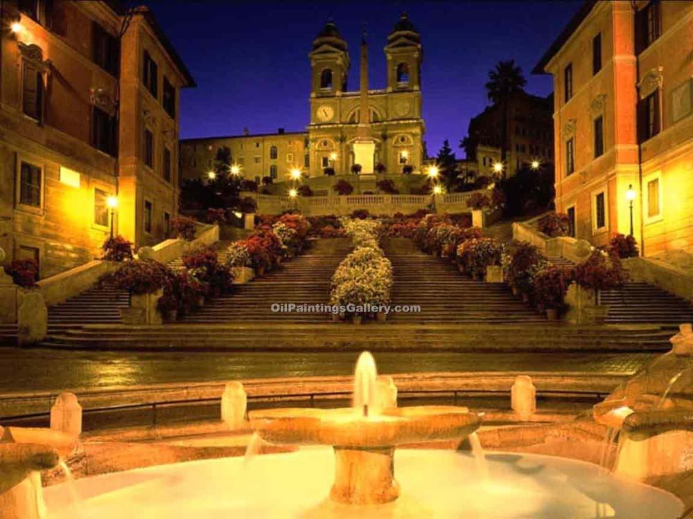 """Spanish Steps in Rome at Night"""