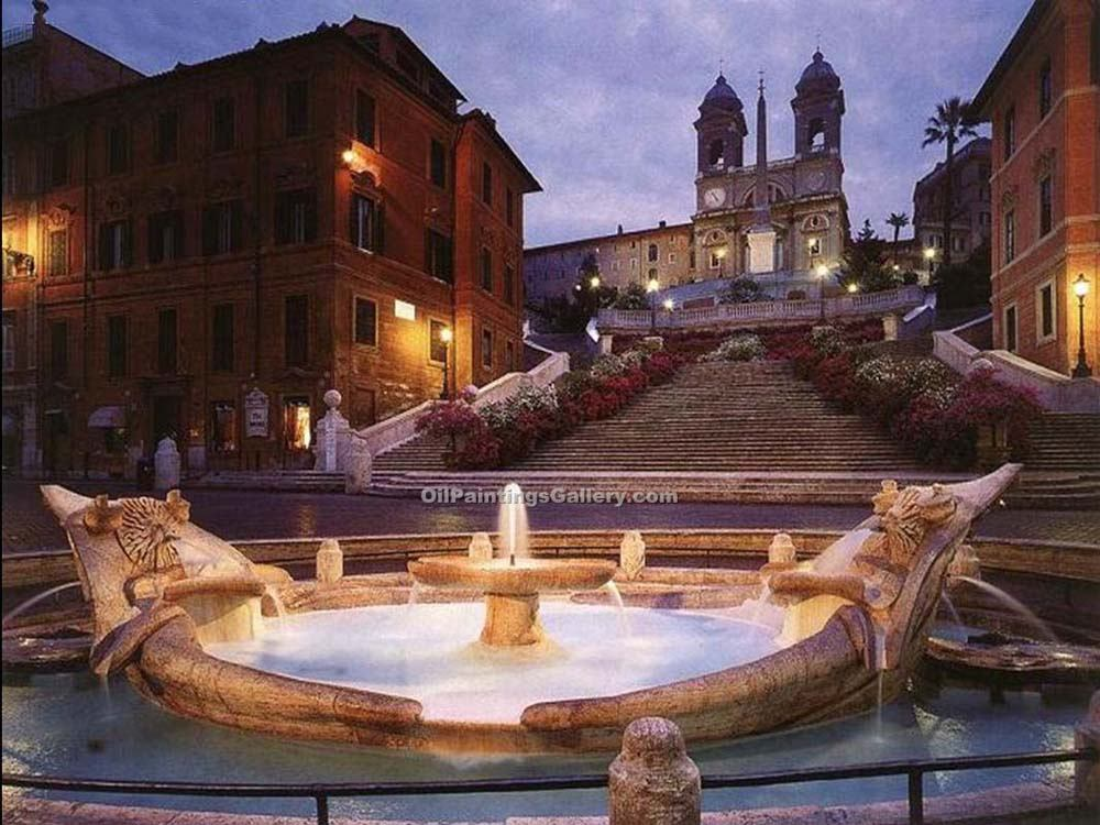 """Spanish Steps in Rome at Twilight"""