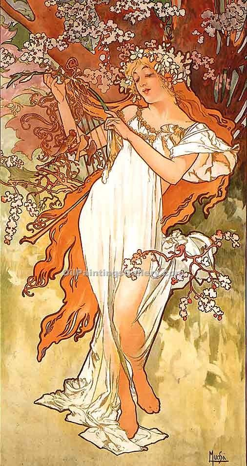 Spring 1896 by Mucha Alphonse Maria | Web Art Gallery - Oil Paintings Gallery