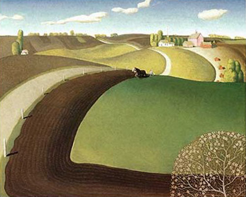 """Spring Plowing"" by  Grant Wood"
