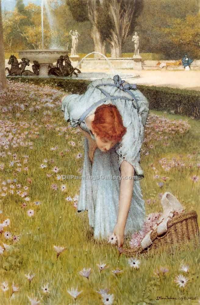 Spring in the Gardens of the Villa Borghese by Sir LawrenceAlma Tadema | Oil On Canvas Painting - Oil Paintings Gallery