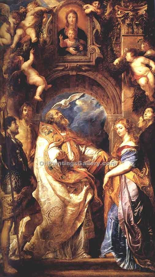 """St. Gregory with St. Domitilla Maurus and Papianus"" by  Peter Paul Rubens"