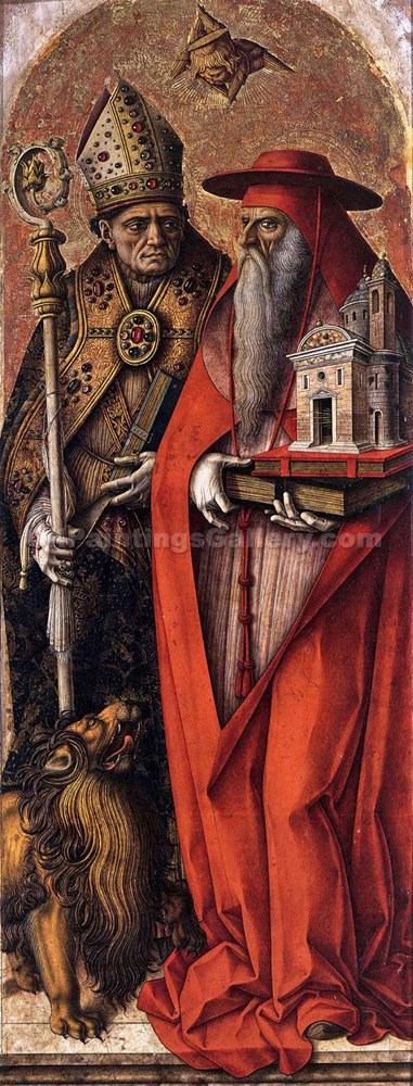St. Jerome and St. Augustine by CarloCrivelli | Paintings On Canvas - Oil Paintings Gallery
