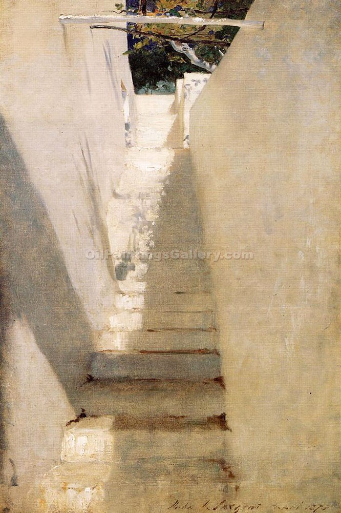 """Staircase in Capri"" by  John Singer Sargent"
