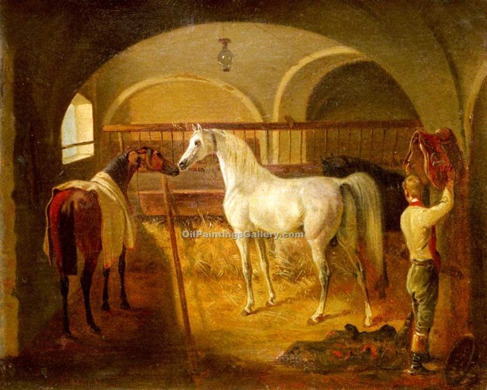 """Stallinneres"" by  Jacques Laurent Agasse"