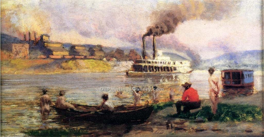 """Steamboat on the Ohio 35"" by  Thomas Pollock Anschutz"