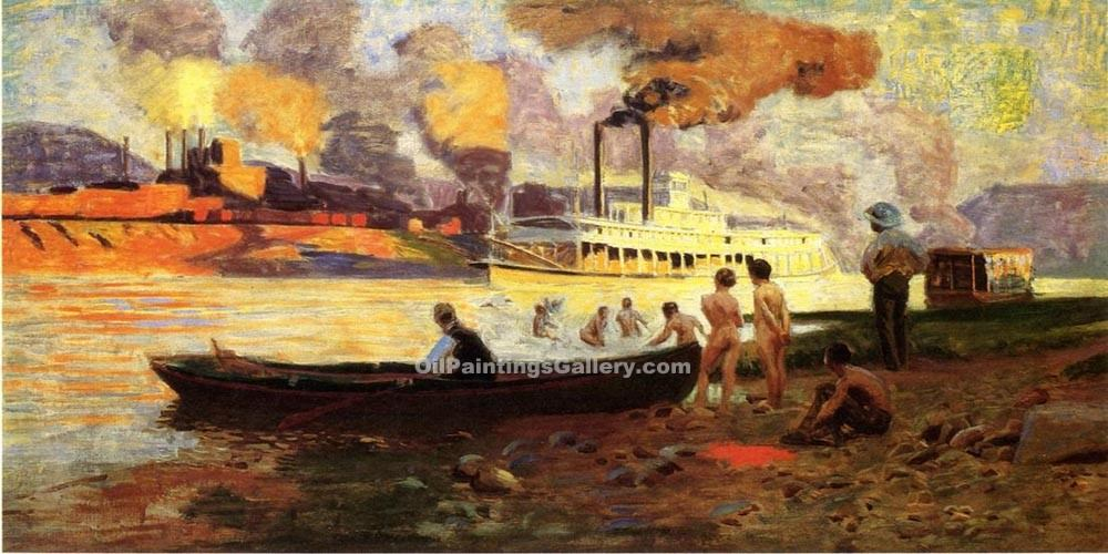 """Steamboat on the Ohio 36"" by  Thomas Pollock Anschutz"
