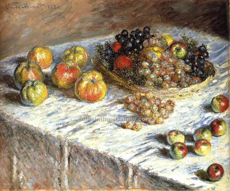 """Still Life Apples and Grapes"" by  Claude Monet"