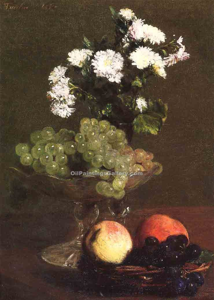 """Still Life Chrysanthemums and Grapes"" by  Henri Fantin Latour"