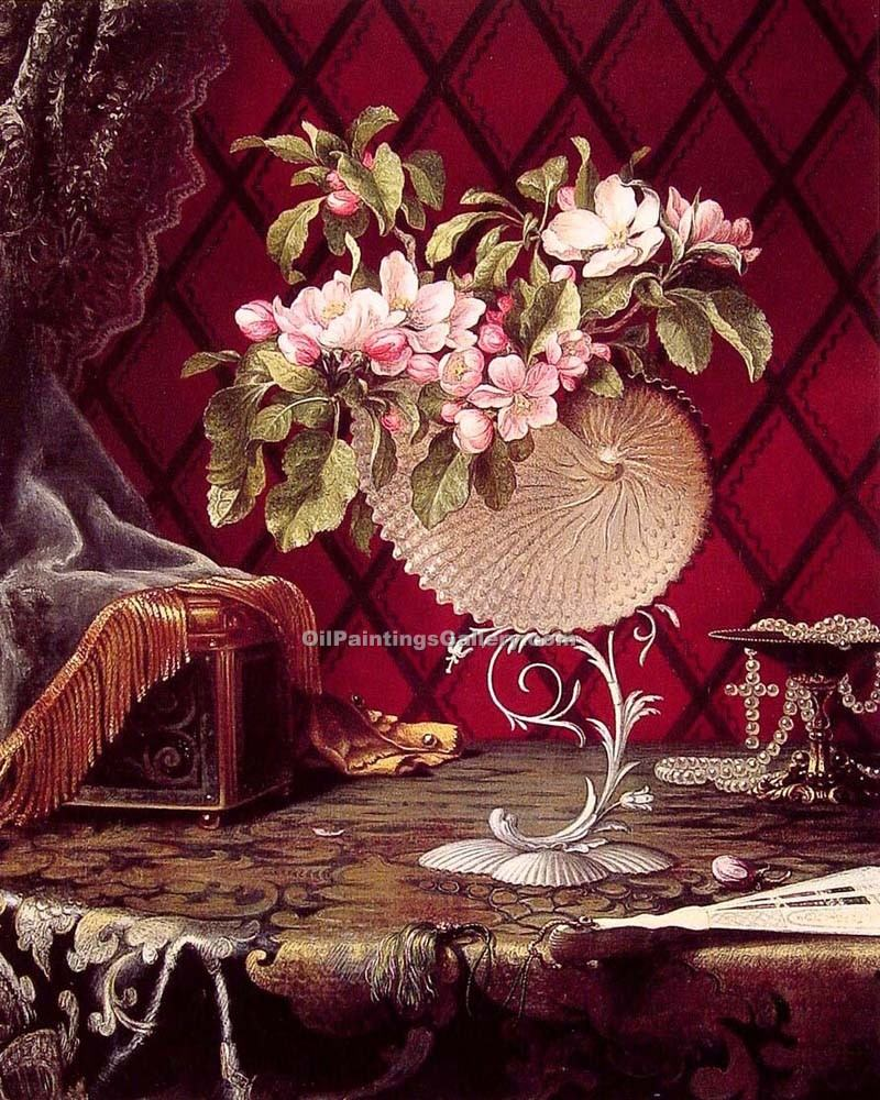 """Still Life with Apple Blossoms in a Nautilus Shell"" by  Martin Johnson Heade"