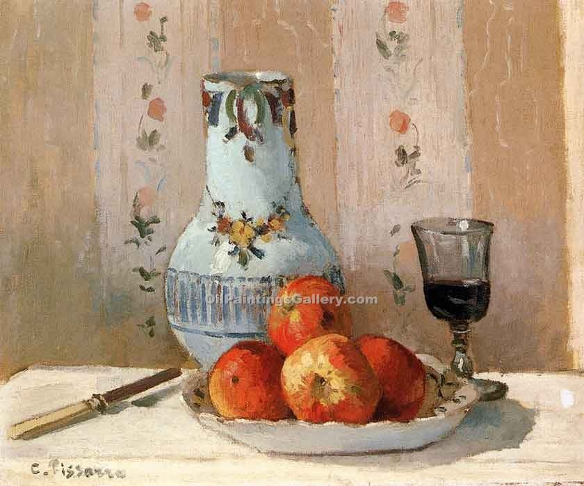 """Still Life with Apples and Pitcher"" by  Camille Pissarro"