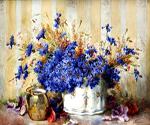 Still Life with Cornflowers by  Francois Rivoire (Painting ID: SL-0012-KA)