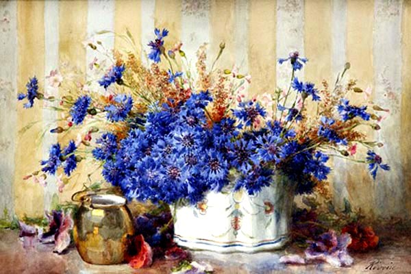"""Still Life with Cornflowers"" by  Francois Rivoire"