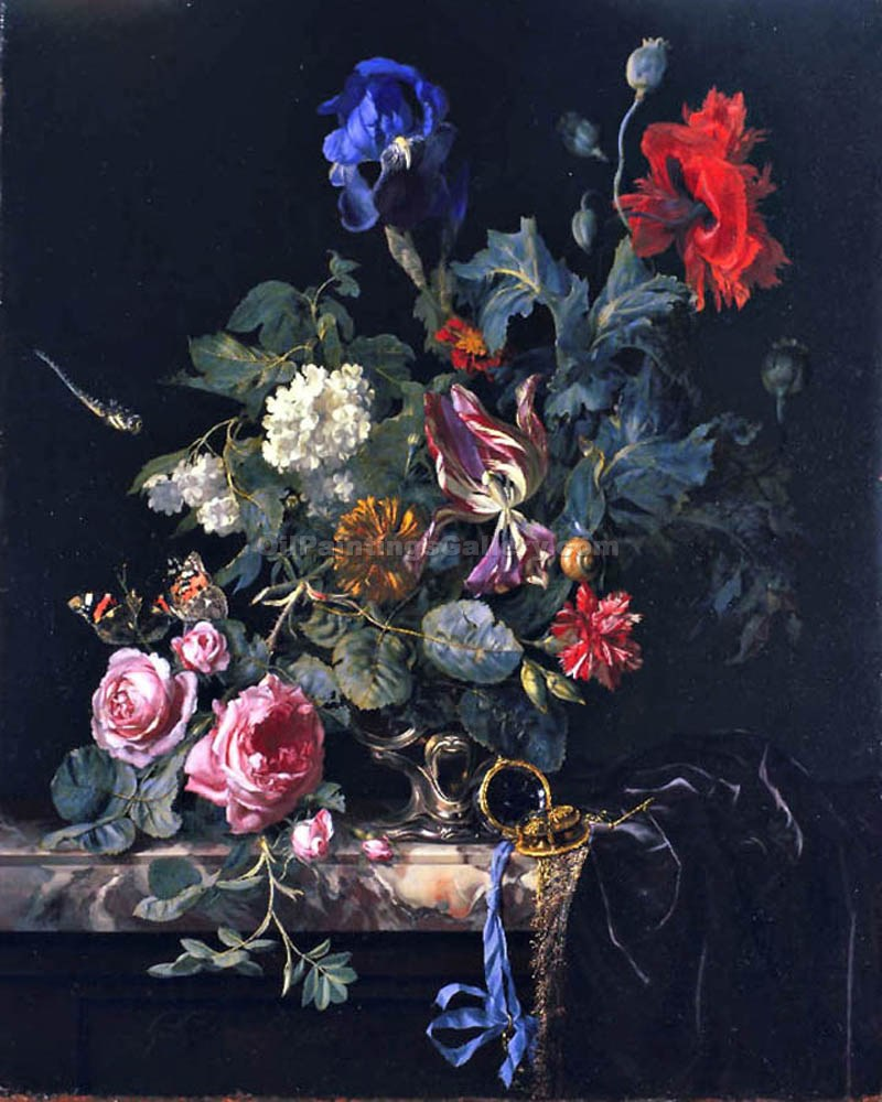 """Still Life with Flowers and Watch"" by  Willem van Aelst"